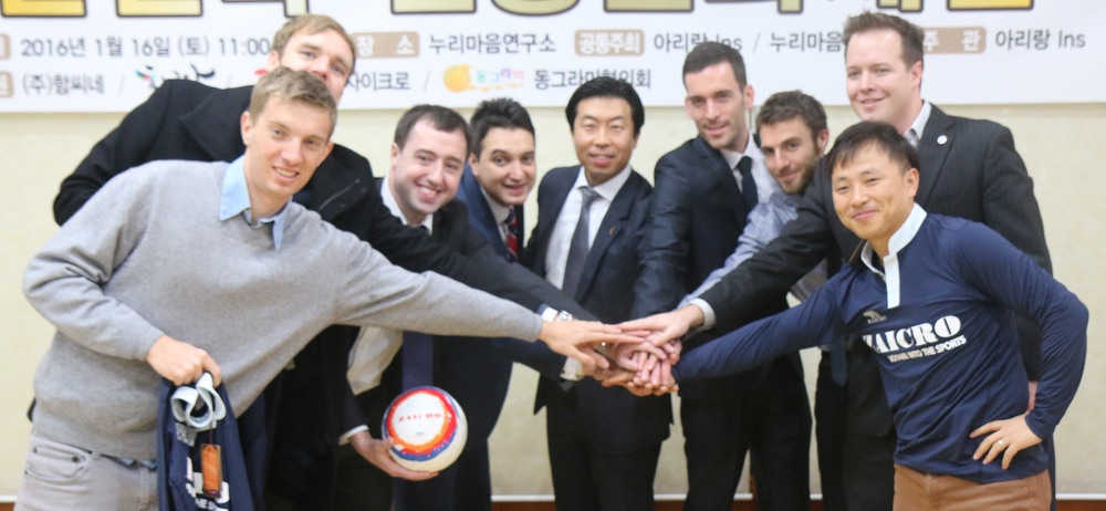 From Left to Right: Tom Norris ~ AI Cooperation Director,   Mark Sample ~ Team Captain,   Matthew Fennell~ Team Manager,   Joe Hutahaean ~ Head Coach, President Choi ~ Zaicro,   James Finney ~ Director of Football,   Jon Boulty ~ Player,    Michael Lammbrau ~ AI Seoul Bureau Chief, John Lee ~ Hometown Football Director
