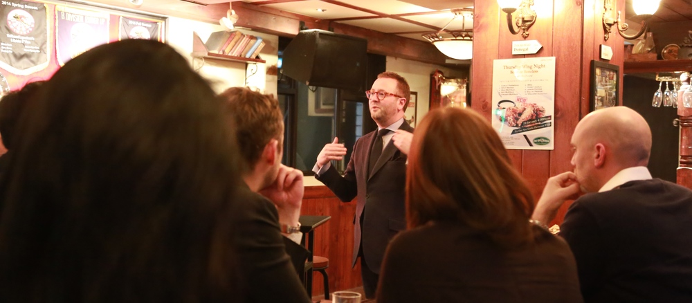 Mr. Todd Sample speaks to Arirang Institute's Leadership Programme Fellows and Guests at the Wolfhound Pub in Itaewon.