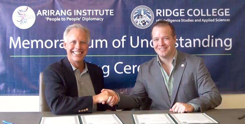 From Left to Right: Dr. James Breckenridge, Dean of the Ridge College School of Intelligence Studies and Applied Sciences; Mr. Michael Lammbrau, Assistant Professor at Ridge College and Arirang Institute, U.S. Representative