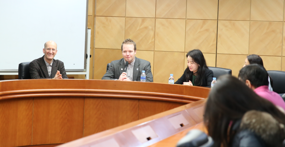 Left to Right  : Professor Emanuel Pastreich; Professor Michael Lammbrau;    Journalist   Ms.     Lee Jin-woo;   Ku Yaerin, Kyung Hee University Student