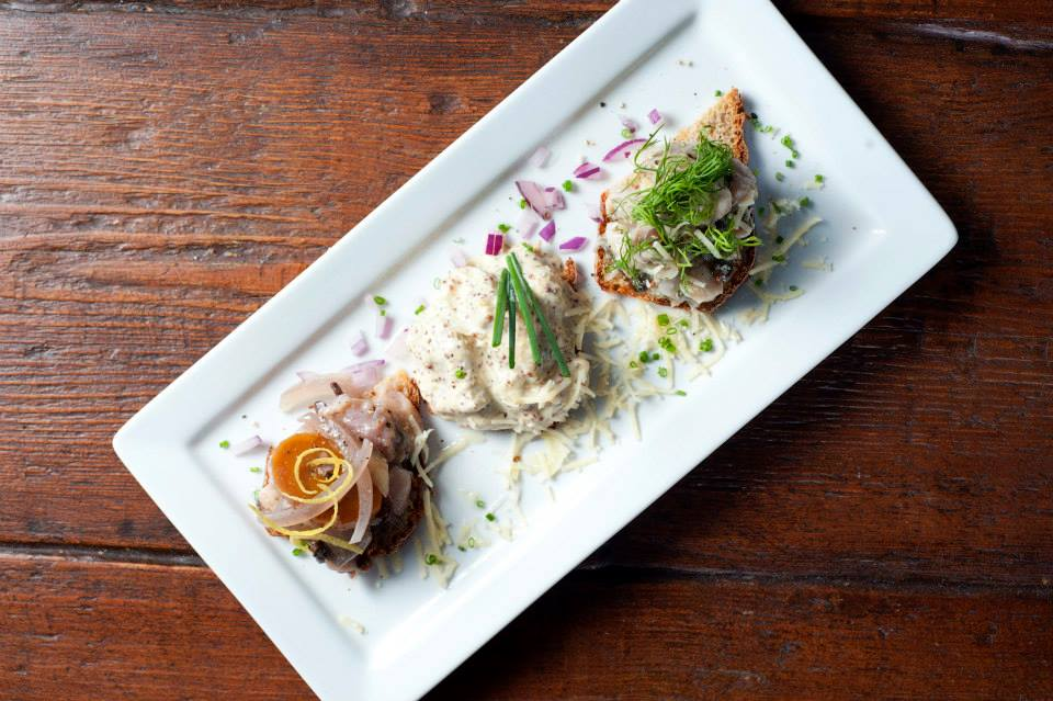 Lisa's restaurant, London 2014.3 tastes of Sweden, garlic, onion and horseradish marinated herrings.
