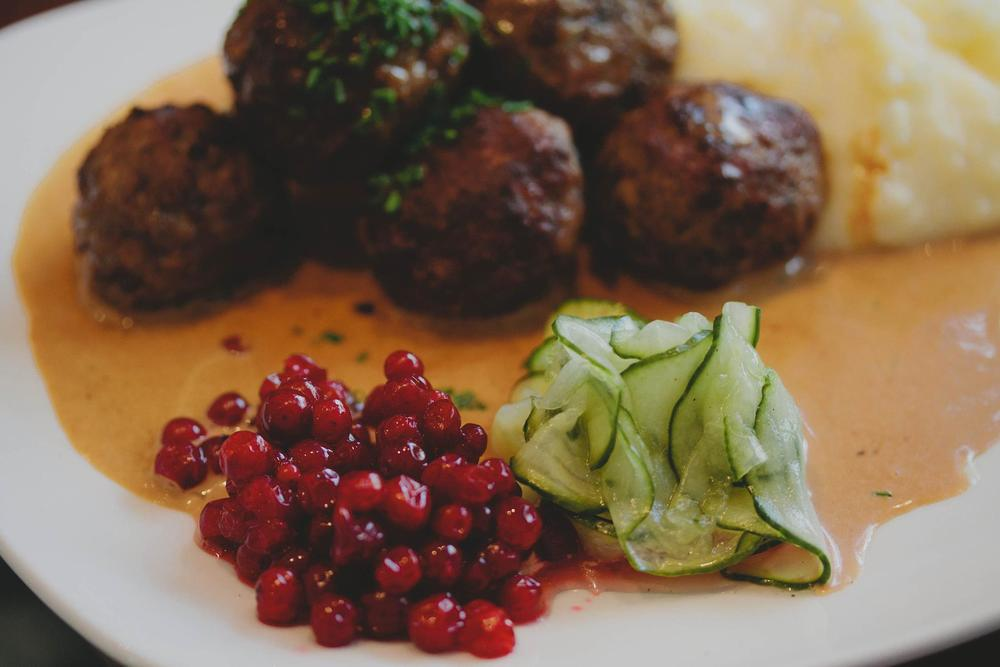 Lisa's signature dish, London. Classical Swedish meatballs, served with potato pure lingonberries and a cream sauce.