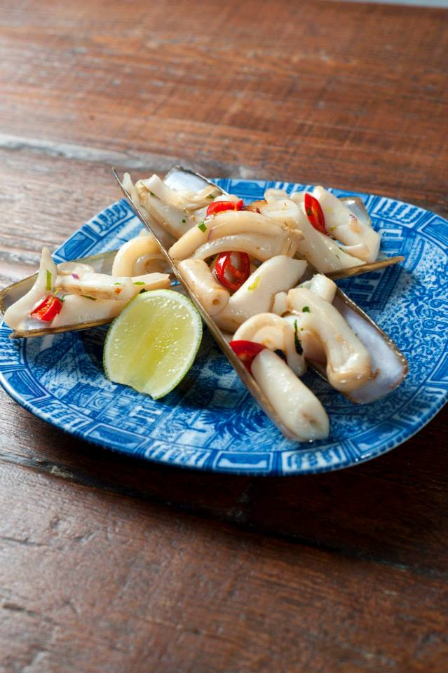Lisa's restaurant London 2013.Garlic, lime and chili marinated razor clams.