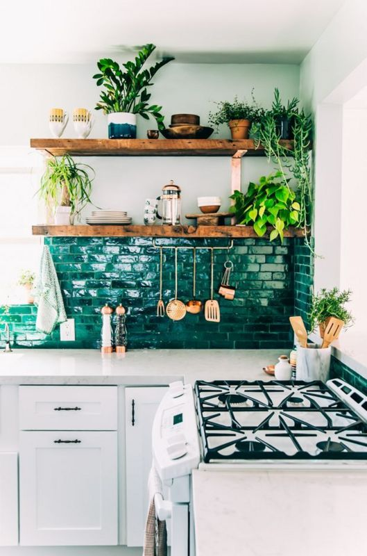 Kitchen plants inspiration | Green kitchen tile | Exposed shelves | The School of Styling - A three-day hands-on workshop for creative entrepreneurs. http://www.theschoolofstyling.com
