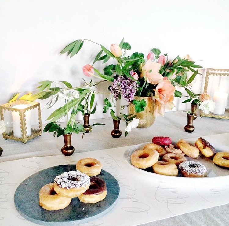 Donut snack bar inspiration | Floral centerpiece inspiration | The School of Styling Nashville - A three-day hands-on workshop for creative entrepreneurs. http://www.theschoolofstyling.com