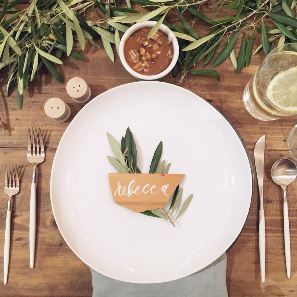 Dinner party inspiration | Table styling | Greenery table runner | The School of Styling Nashville - A three-day hands-on workshop for creative entrepreneurs. http://www.theschoolofstyling.com