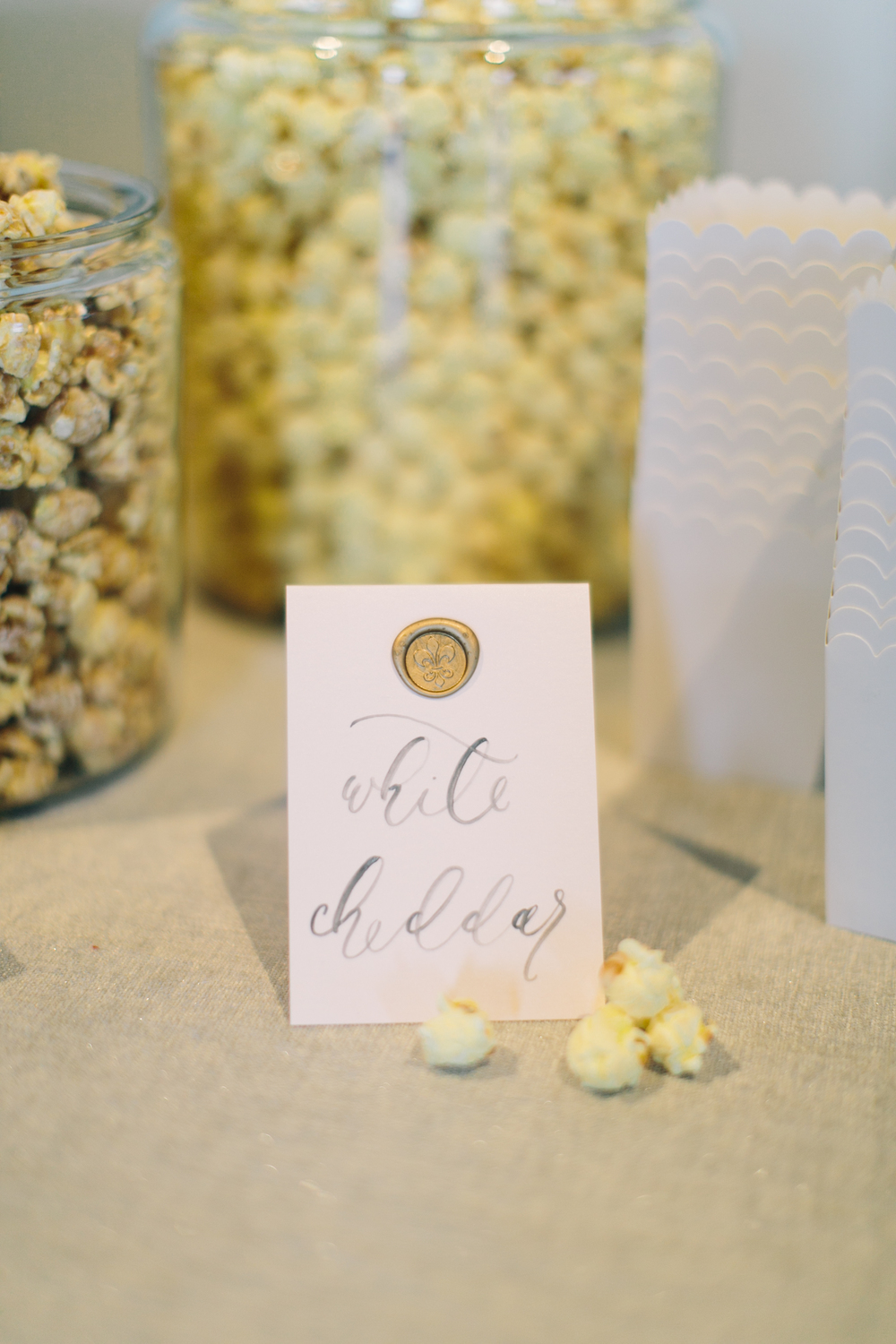 Snack bar-snack station-popcorn bar-food styling-food inspiration-DIY snack bar-white cheddar popcorn-labels-calligraphy-food photography-