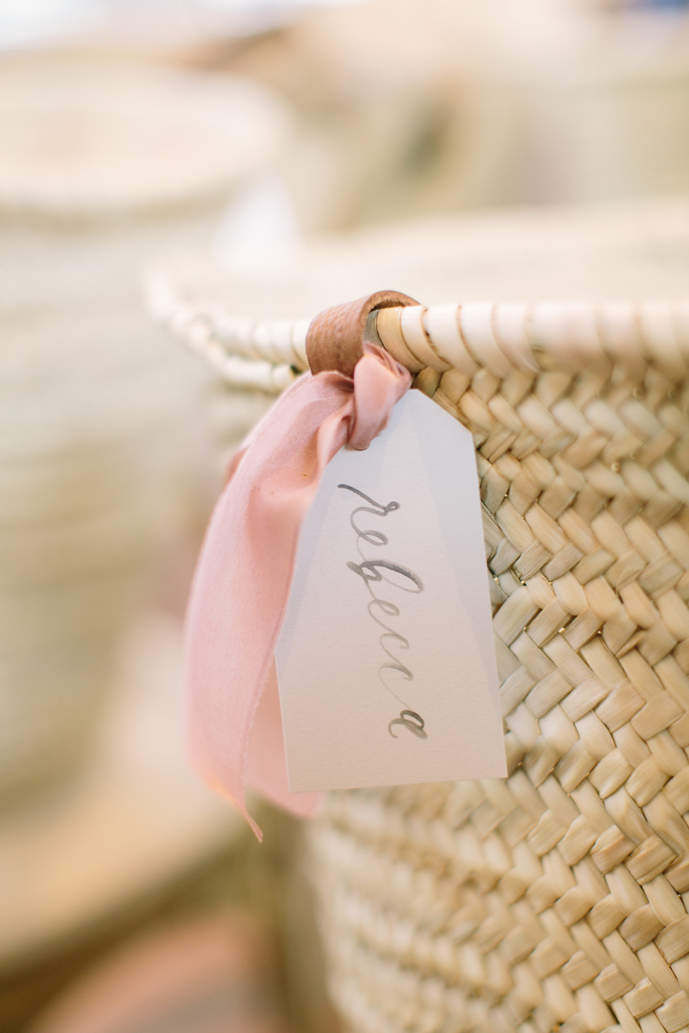 Ribbon-nametag-gift basket-wicker basket-calligraphy-blush-