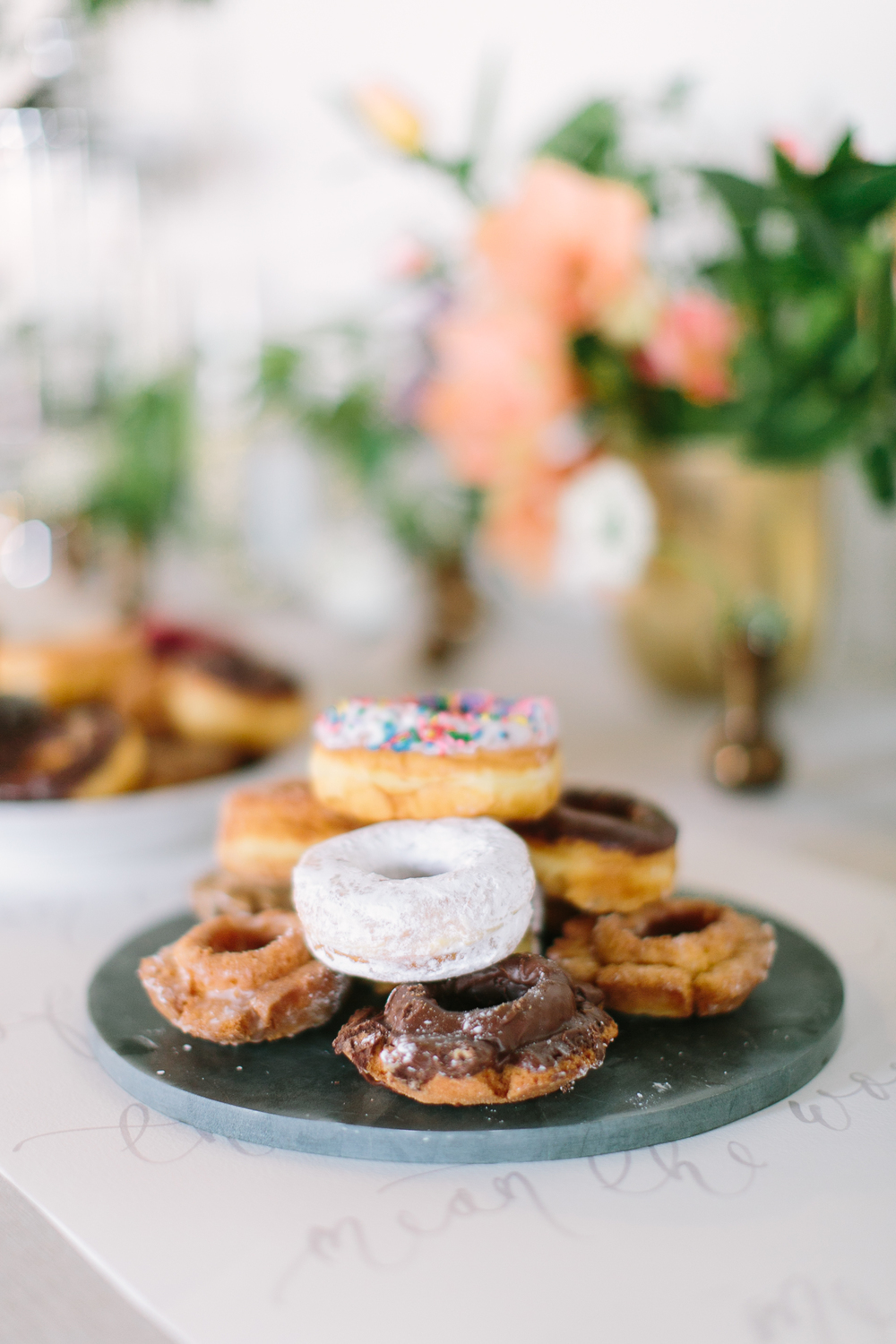 Donut bar-food styling-food photography-donuts-florals-centerpiece-dessert table-breakfast bar-