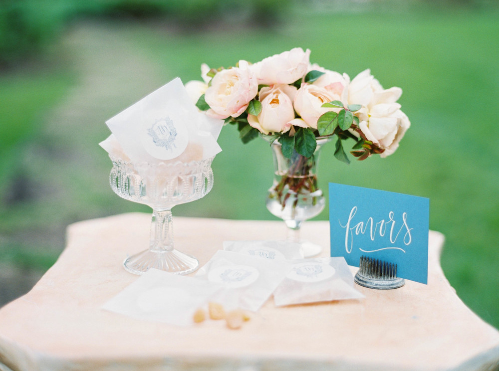 Blush florals-glassware-outdoor wedding-rustic-vintage-placecard-wedding favor-peonies-