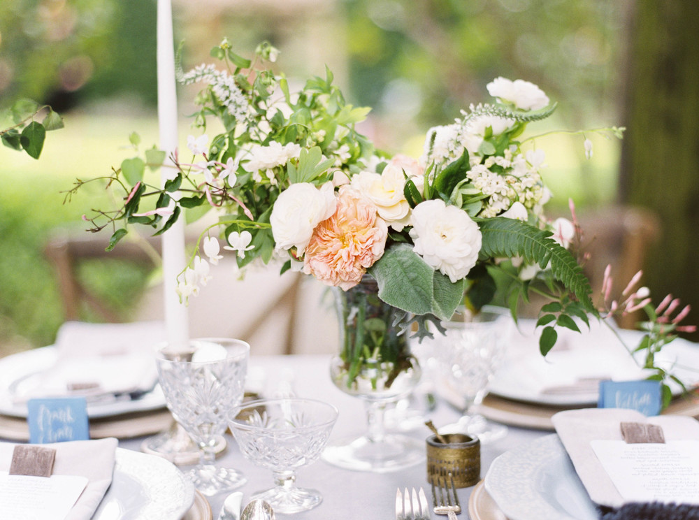 Peonies-outdoor weddings-floral inspiration-wedding reception centerpiece inspiration-blush florals-glassware-outdoor venue-vintage-fine wedding photography-rustic wedding-