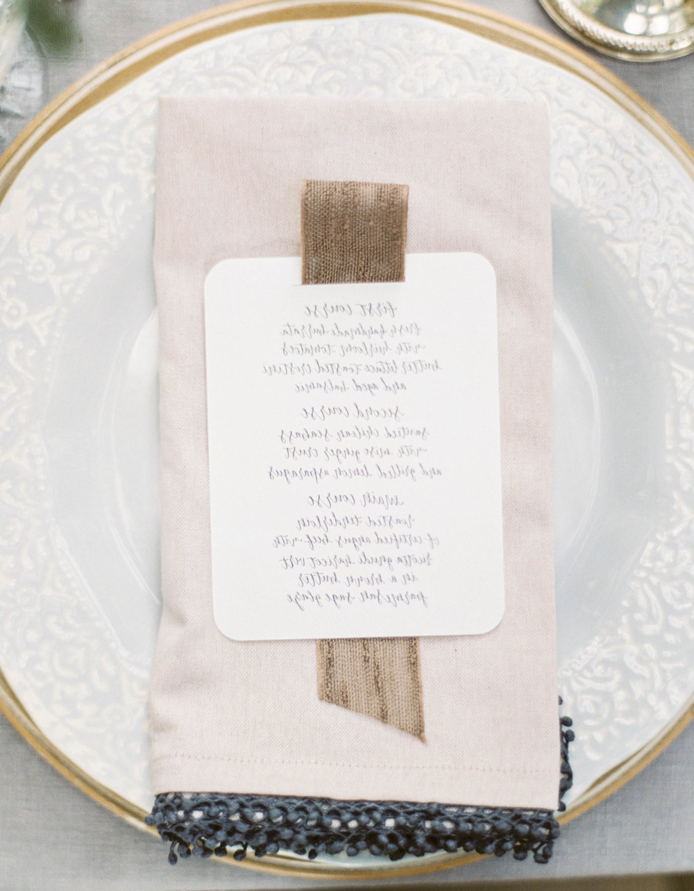 Place setting-placecard inspiration-wedding reception-rustic-vintage wedding inspiration-wedding menu-calligraphy-
