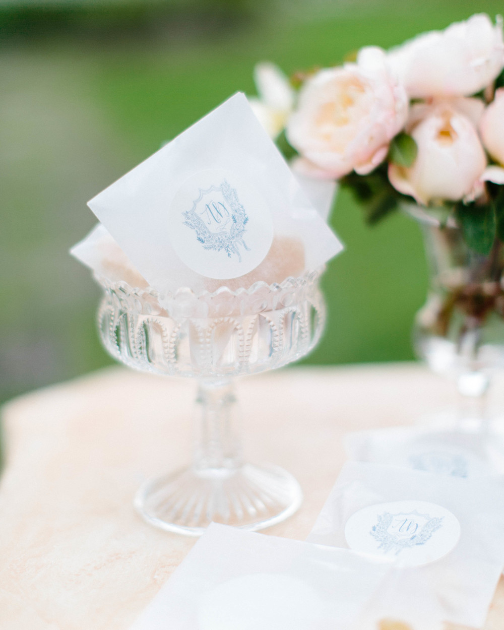 Wedding glassware-vintage glassware-wedding reception inspiration-tablescape-blush florals-peonies-floral inspiration-outdoor wedding-vintage wedding inspiration-wedding gift ideas-