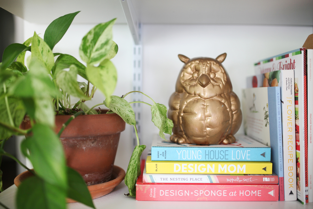 Design books - shelf inspiration - wall shelves - home office inspiration - vallarina creative - valerie keinsley - office plants - owl statue -