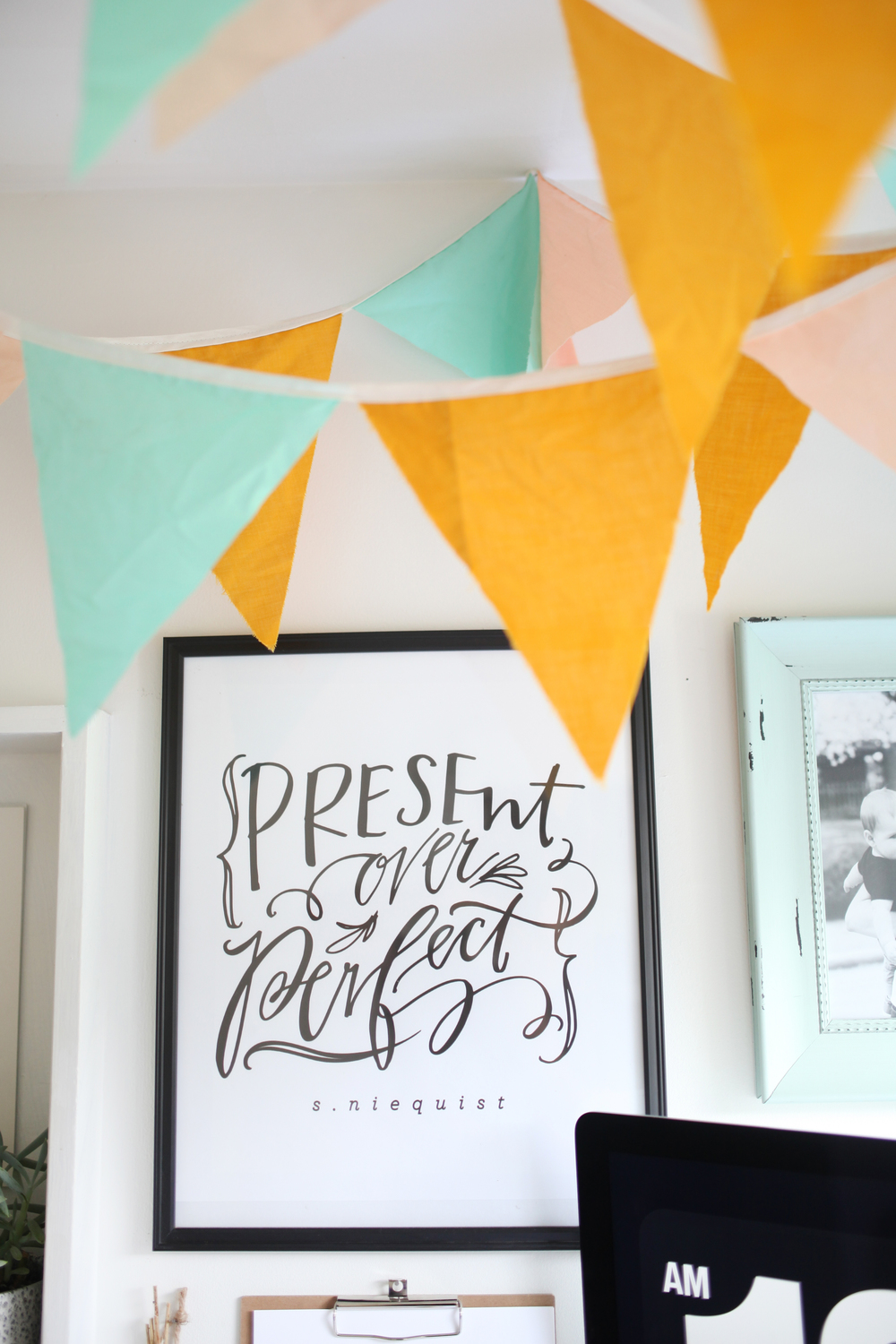 Present over perfect - niequist - quotes - calligraphy - handwriting - inspiration - grace not perfection - home office - wall decor - wall prints - wall inspiration -
