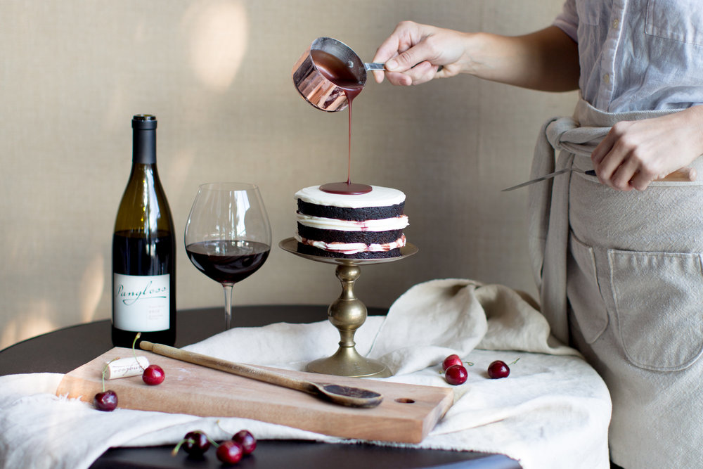 Cake Bloom: Panglass Pinor Noir Caramel Sauce | Chocolate cherry cake inspiration | The School of Styling - http://www.theschoolofstyling.com