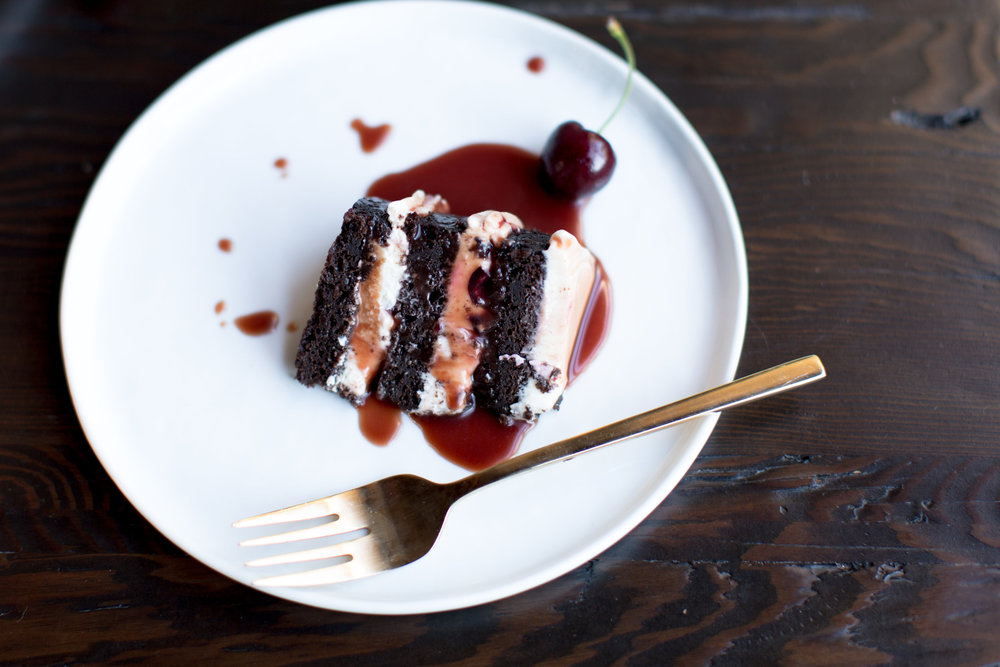 Baking with cherries | Cake Bloom + Panglass Collaboration | Pinot Noir Caramel Sauce | The School of Styling - http://www.theschoolofstyling.com