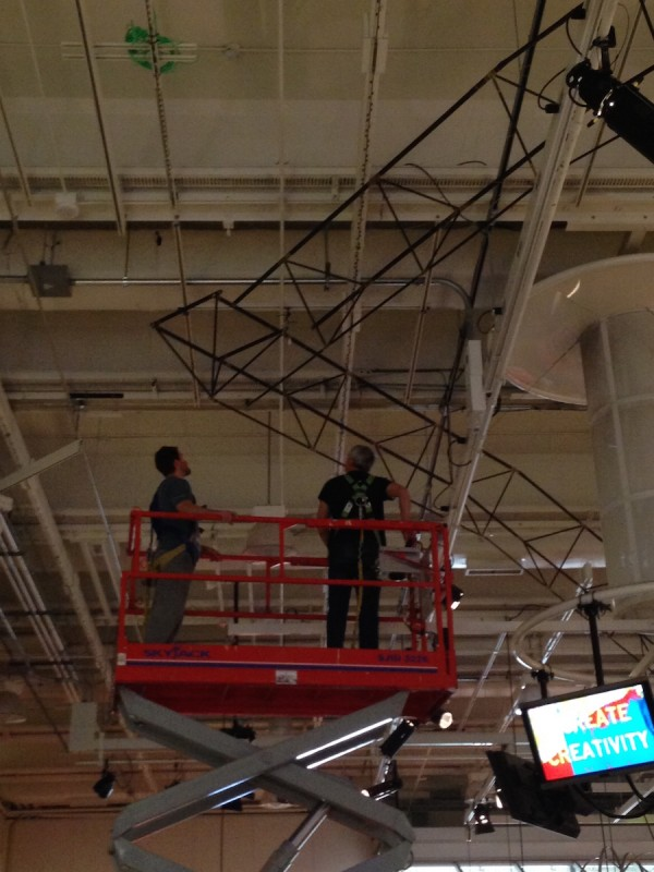 Todd finesses the trusses into their final arrangment (Photo by Alexa Robertson)