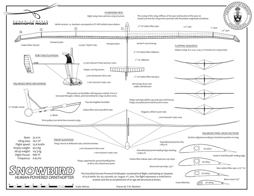 Engineering drawing of the Snowbird Human-Powered Ornithopter