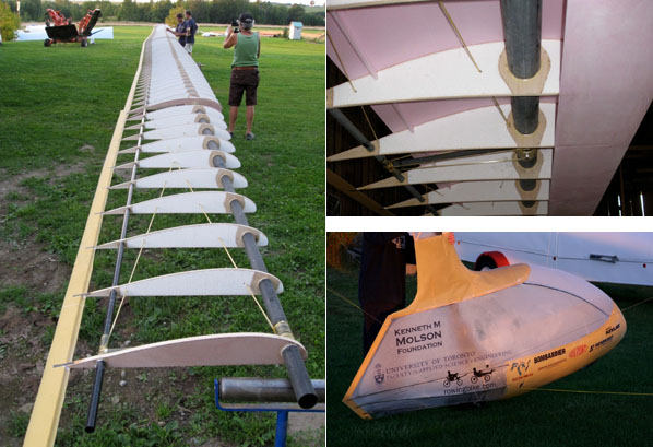 Secondary structure. Left: Complete wing with ribs and trailing edge. Top Right: Addition of the foam leading-edge sheeting to the wing structure. Bottom Right: Fuselage fairing with yellow Kevlar shells on the top and bottom, carbon and balsa rib structure and Mylar covering.