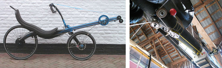 (Left to Right) Linear drive system on the Thys Rowingbike. Drive system as seen from the bottom of the aircraft with 2:1 pulley and lines going out to each wing.