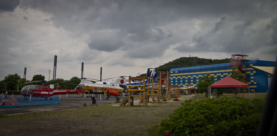 Helicopters on display in front of the Kakamigahara Aerospace Museum.