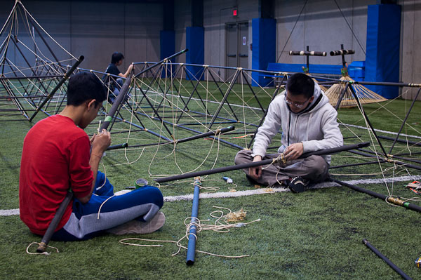 Aakash and Simon putting the truss back together.