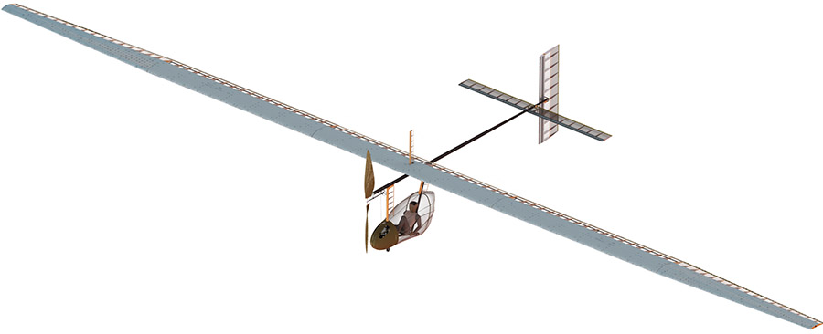 Rendering of the 3D CAD model of the Pegase Human-Powered Aircraft
