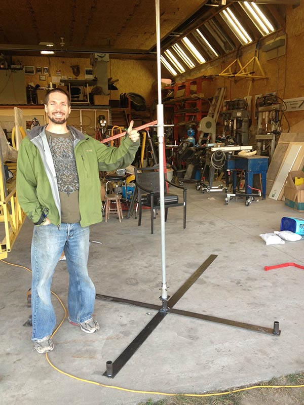 Todd with the completed rotor test stand.