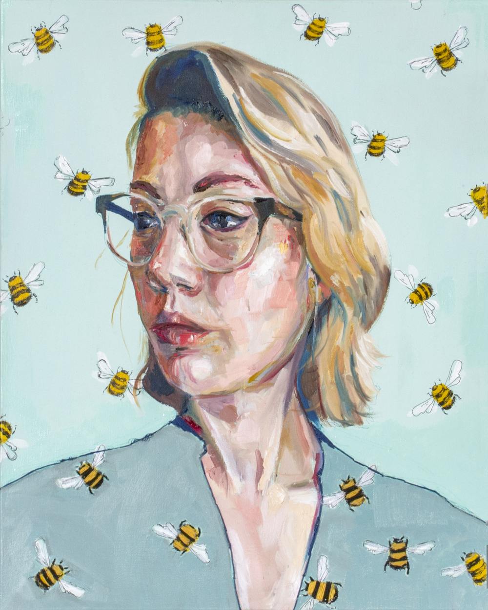 "<i>Self Portrait with Bees</i><br>16"" x 20""<br>Oil on Canvas with Embroidery<br>2015"