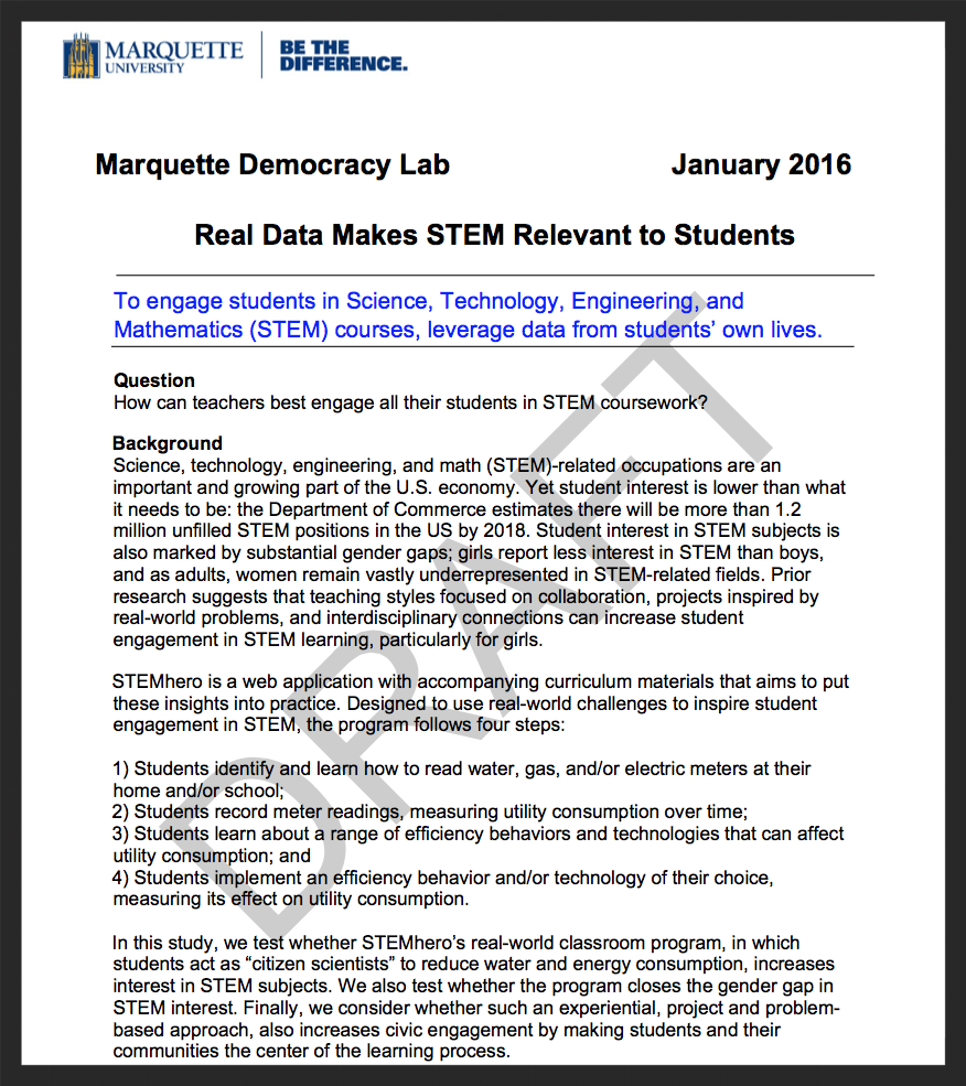 Pilot study results -- research completed by the Marquette Democracy Lab