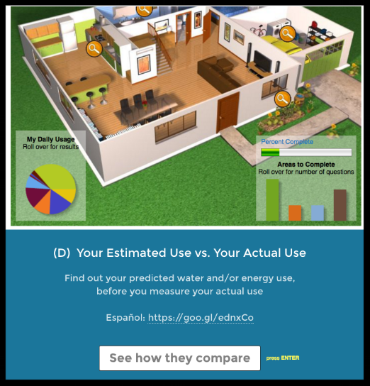 Option: Students learn about where water/energy are used in a typical home. An estimate of their home's usage is produced, which they can then compare against the actual usage they measure.