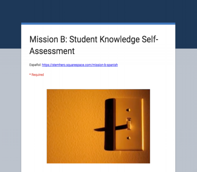 Option: A student self-assessment of their knowledge, attitudes and actions related to energy and water