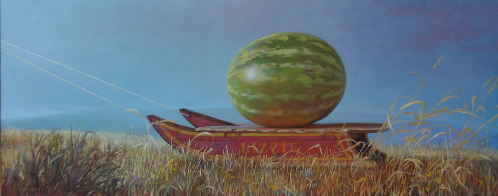 "Lizzie and the Melon   22"" x 55"" 2011, oil on wood panel"