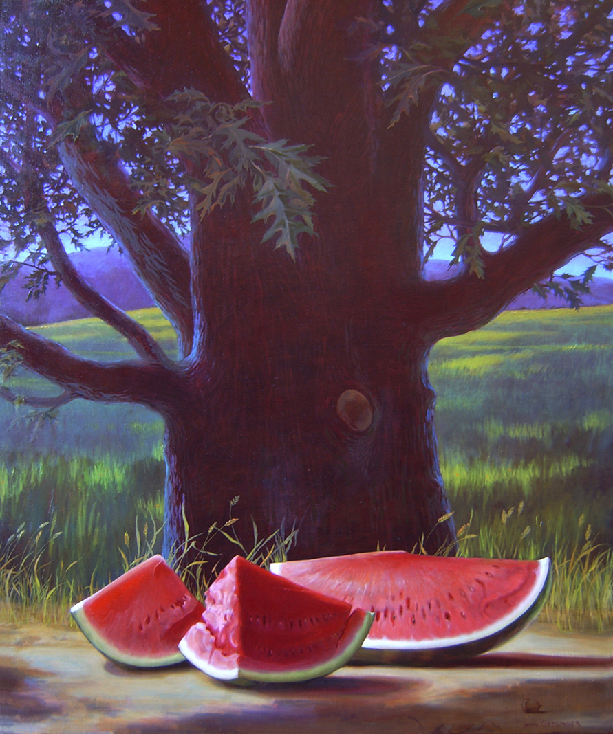 "Watermelon and Oak  36"" x 30"" 2007, oil on linen"