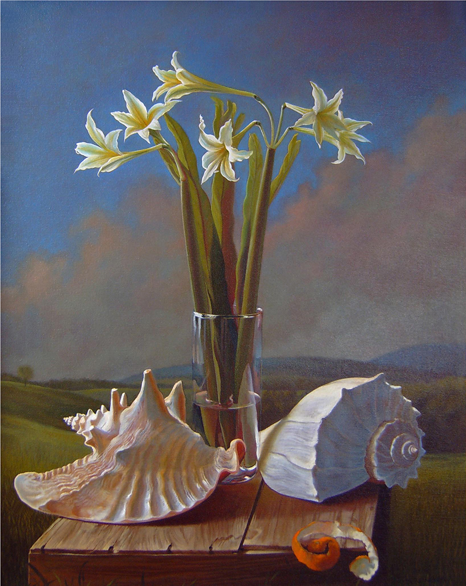 "Pastorale- Lilies, Shells, and a Peel   30"" x 24"" 2006, oil on linen"