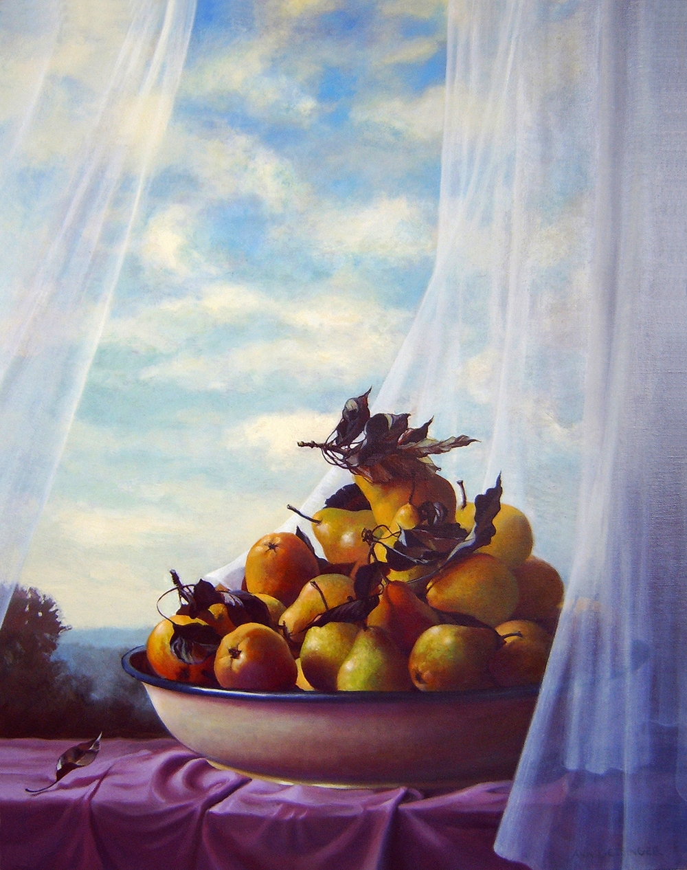 "Bowl of Pears  30"" x 24"" 2010 oil on linen"
