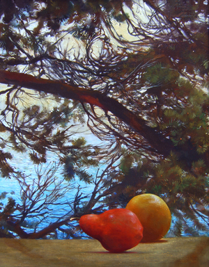 "Grapefruit, Pear, and Pine   18"" x 24"" 2001, oil on linen"