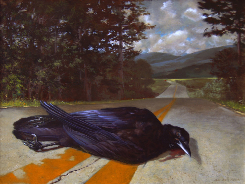 "Dear Dead Crow 18"" x 24"" 2007, oil on linen"