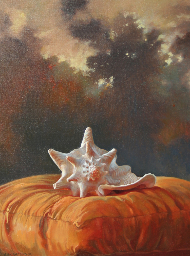 "Shell on Orange Pillow 24' x 18"" 2005, oil on linen"