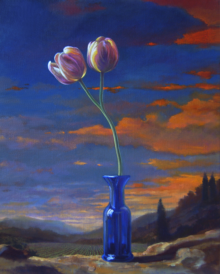 "One Stem  20"" x 16"" 2007, oil on linen"