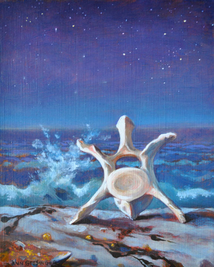 "Vertebrae in Moonlight  10"" x 8"" 2011, oil on panel"