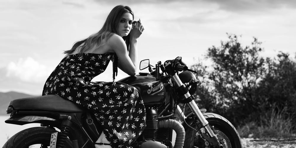 """Daphne"" dress. 100% cotton asymmetric halter tie up dress in black with white skulls (C303)"