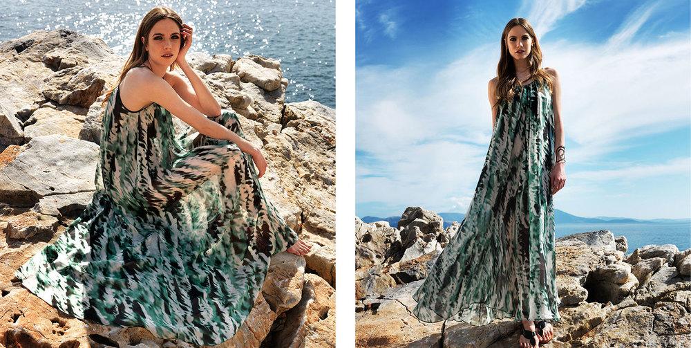 """Eva"" dress. 100% silk chiffon floor length dress in marble green (C101)"