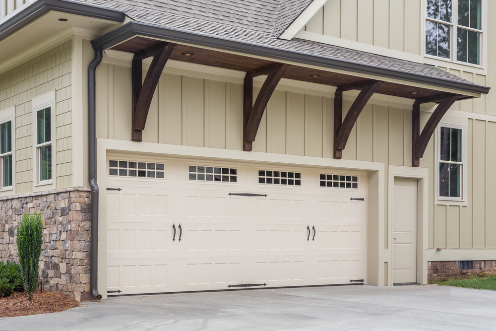 gable covered garage door