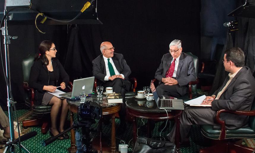 From left:Linda Herrera, Mohamed ElBaradei, Rajmohan Gandhi, Magdy Elabady.Cairo, Egypt,November 2012