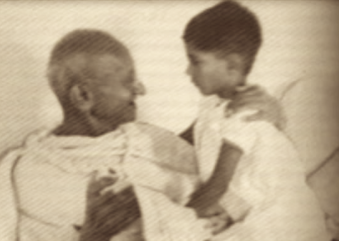 Gandhi with his grandson Rajmohan in Delhi, 1936