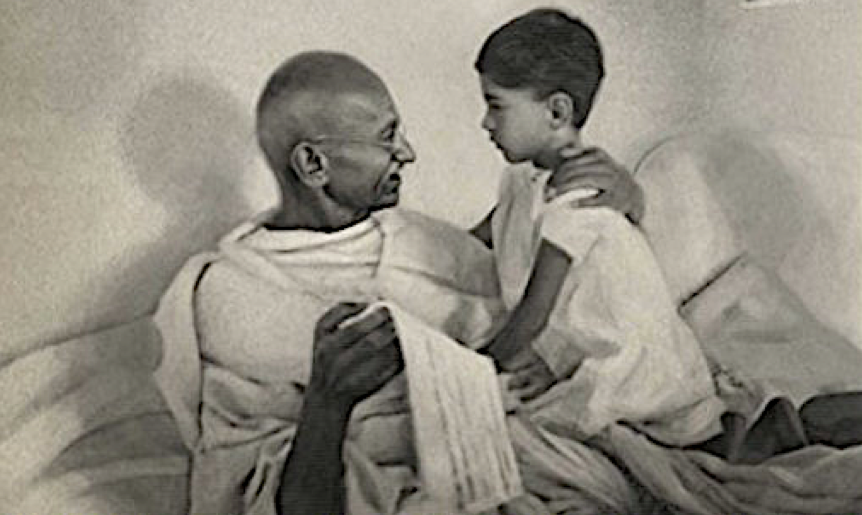 Gandhi with his grandson