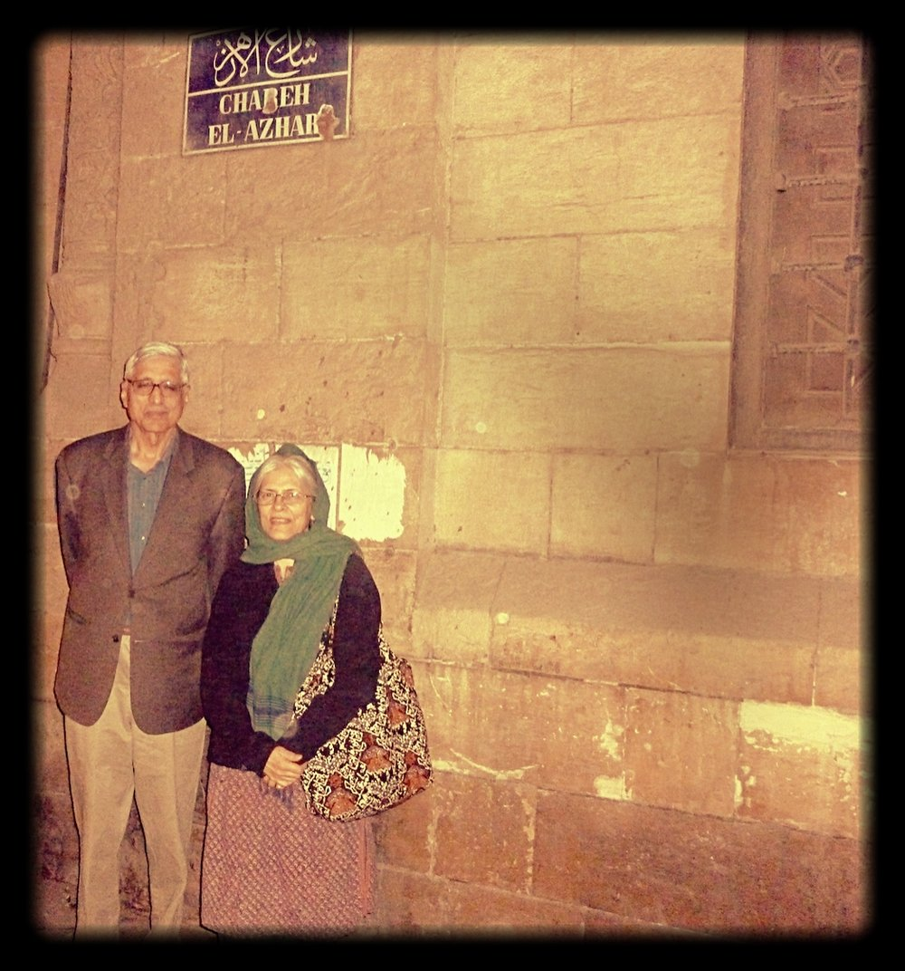 Rajmohan and Usha Gandhi at Al-Azhar University, 2012