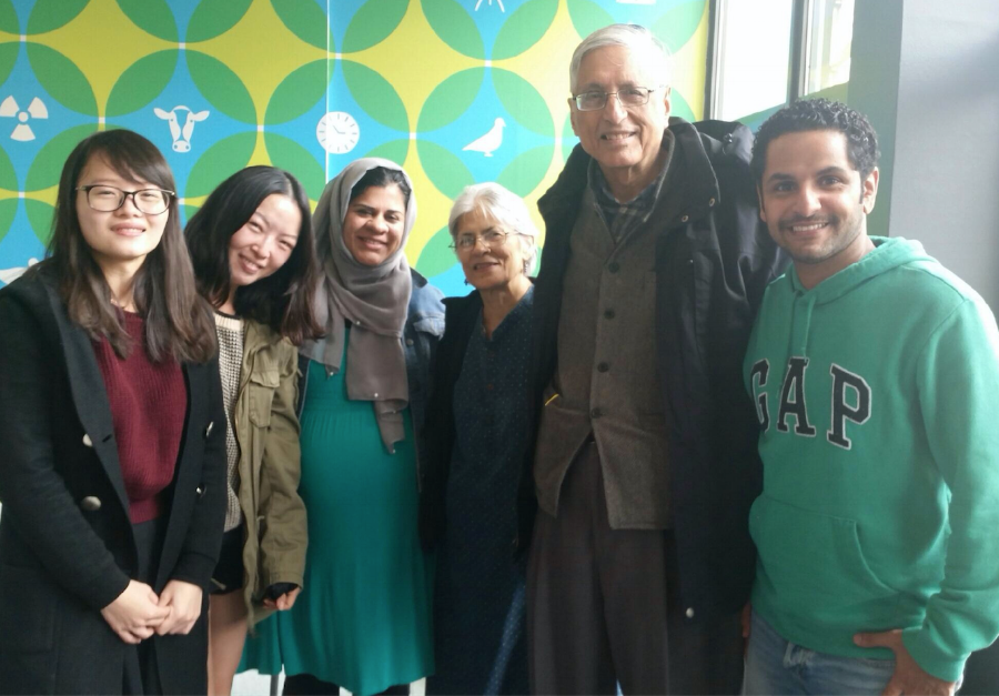 Members of the initial Democracy Dialogue team in Champaign, 2015  from left: Liangliang Amy Cai, Ga Young Chung, Fauzia Rahman, Usha Gandhi, Rajmohan Gandhi, Abdullah Mansoor.